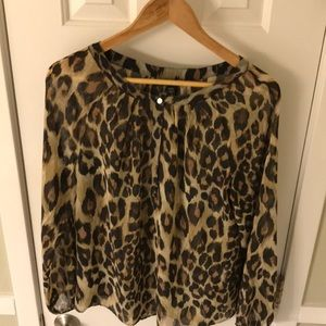 Banana Republic womens  leopard print blouse